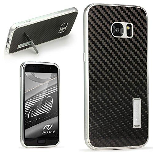 Echt Carbon Aluminium Schutz Hülle für das Samsung Galaxy S7 Original UrCover® [DEUTSCHER FACHHANDEL] Case Cover Bumper Alu Rahmen Tasche Schutzhülle Handyhülle Schwarz/Silber