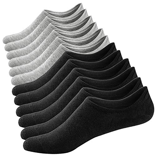 Ueither calzini fantasmini da donna, calze invisibili in cotone sportivi corti calzini con taglio basso,ottima qualità e comodità,antiscivolo (36-43, colore 3)