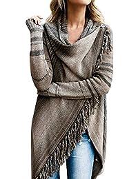 Linlink Liquidación Mujeres Borla Irregular Cardigan de Punto suéter Poncho Chal Abrigo Chaqueta Outwear