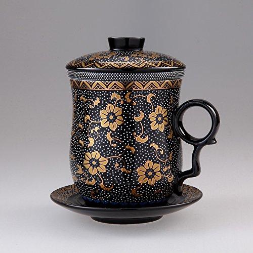 ufengke® 4 Pièces Dehua Fleur Motif Tasse à Thé en Céramique avec Filtre Soucoupe Et Couvercle-Noir
