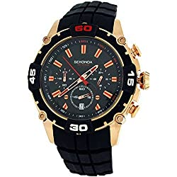 Sekonda Gents Analogue Date Chronograph Black Silicone Strap Sports Watch 3490