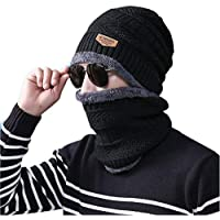 ADBUCKS Snow Proof Inside Fur Wool Unisex Beanie Cap with Neck Warmer Set Knit Hat Thick Fleece Lined Winter Hat for Men…