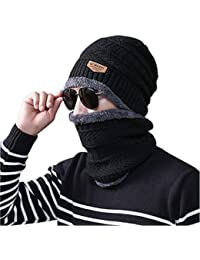 ADBUCKS Snow Proof Inside Fur Wool Unisex Beanie Cap with Neck Warmer Set Knit Hat Thick Fleece Lined Winter Hat for Men & Women