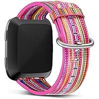 für Fitbit Versa Armband Leder Echtes Bunt Leder Ersatzband mit Silber Edelstahl Schnalle Zubehör Armband Gurt für Fitbit Versa SmartWatch