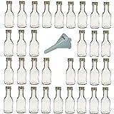 Viva Haushaltswaren - 32 x leere Glasflasche 100 ml mit goldfarbenem Schraubverschluss, als kleine Schnapsflaschen & Likörflaschen verwendbar (inkl. Trichter Ø 5 cm)