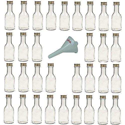 Viva Haushaltswaren Lot de 32 Petites Bouteilles en Verre vides avec Bouchon vissé 100 ML + Entonnoir Blanc Ø 5 cm