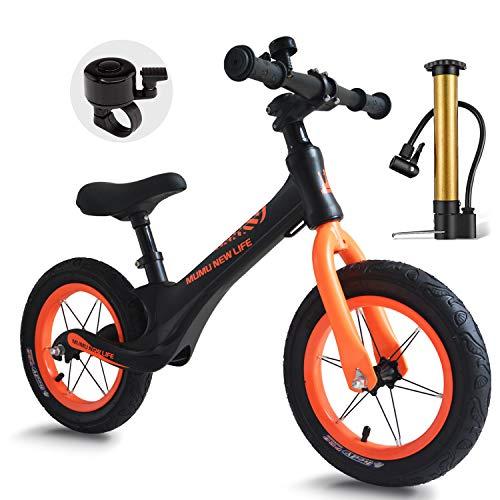 """Mumu New Life 12\"""" Bicicleta sin Pedales para niños de 2 a 6 años, 12 Pulgadas Aleación de Magnesio Bicicleta de Equilibrio con Sillín Regulable para Niños Pequeños"""