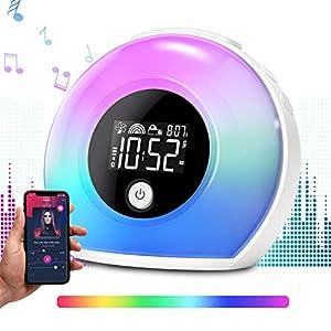 Ecomono Lichtwecker, Wecker mit Licht Musik für Kinder, Wecker Lampe mit Bluetooth Lautsprecher, Nachtlampe Reisewecker…