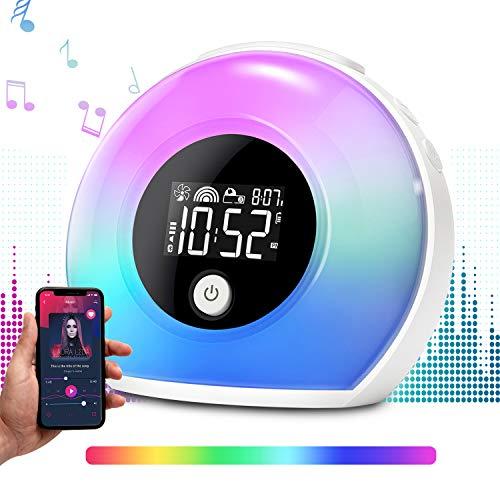 Ecomono Lichtwecker, Wecker Lampe mit Bluetooth Lautsprecher, Wake Up Licht Wecker für Kinder, Nachtlampe mit LCD Display, Vibration Induction, 4 Helligkeit, 5 Farbwechsel für Haus/Zimmer/Geschenk