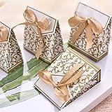 LONGBLE 50x Geschenkbox mit Schleife Klein Gastgeschenk Geschenktüten Bonboniere Geschenk Schmuck Tüten Papiertaschen Verpackung für Hochzeit Party Geburtstag Babytaufen