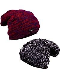 36b8cb5306fee Knotyy Men s   Women s Combo Of Woolen Beanie Caps (Pack Of 2 Multicolor)