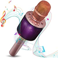 Bluetooth Karaoke Microphone | i-Star Wireless Karaoke Mic | Pairable For Duets With Multi Colour Lights | 5W Speaker Compatible With Android and iOS | Rose Gold
