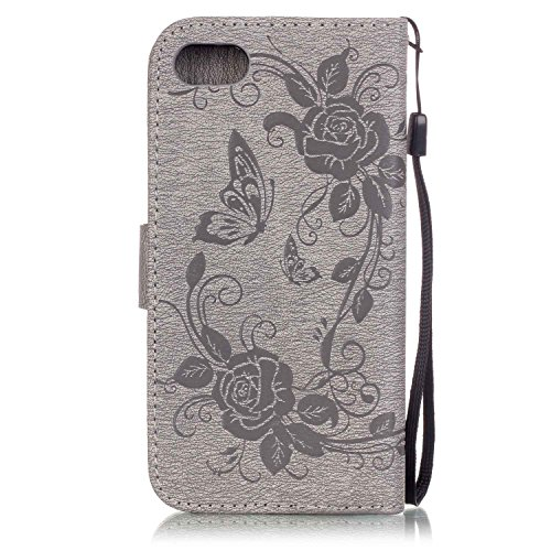 iPhone 7 Coque Flip Case,iPhone 7 Coque Cuir,iPhone 7 Leather Case Wallet Flip Protective Cover Protector,iPhone 7 Coque Fleur Etui,iPhone 7 Coque Portefeuille PU Cuir Etui, EMAXELERS Bling Cristal Ca I Diamond Butterfly 6