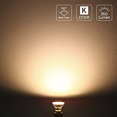 Lighting EVER 200060-WW-EU-10 LE GU10 LED Light Bulbs, 50W Halogen Bulbs Equivalent, 4W MR16, 350lm, Warm White, 2700K, 120° Beam Angle, Pack of 10