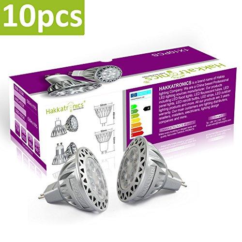 Hakkatronics 7W LED-Glühlampen, 550 Lumen, 5000K Tageslichtweiß, Entspricht 50 Watt Halogen, 12V, 38 °Abstrahlwinkel, Nicht Dimmbar, MR16 Track Beleuchtung, Akzentbeleuchtung, 10er Pack -