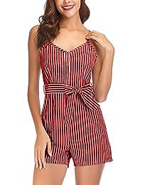 d44f15b6402163 Jumpsuit Kurz Damen Sommer Casual Young Fashion Striped Gürtel Jumpsuits  Party Stil V-Ausschnitt Spaghetti
