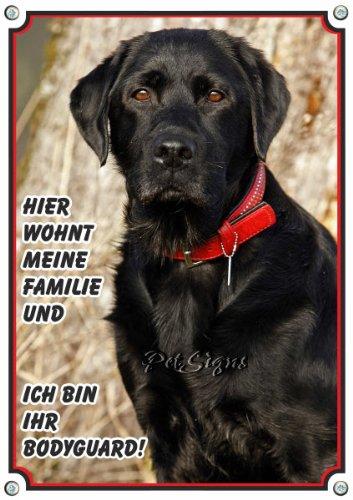 Hundschild schwarzer Labrador Retriever - professionelles Design - massiv, 1. DIN A5 -