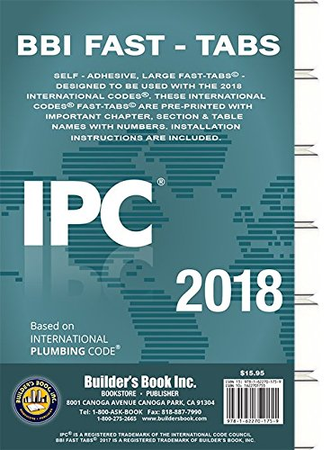 2018 International Plumbing Code (IPC) Fast Tabs