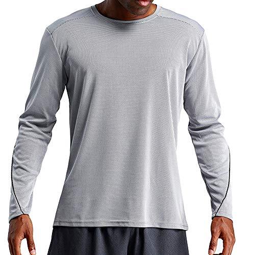 OSYARD Herren Sweatshirt,Sportbekleidung,Oberteile, Männer Sport Quick Dry Langarmshirt Lässige Atmungsaktiv Freizeit Bluse Tops Pulli T-Shirt Rundhals Sportlich Pullover(L, Grau)