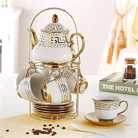 KHSKX Tazas de café de cerámica de estilo europeo de la copa de leche set 6 taza de té tetera agujero filtro enviar estanterías de acero inoxidable,A