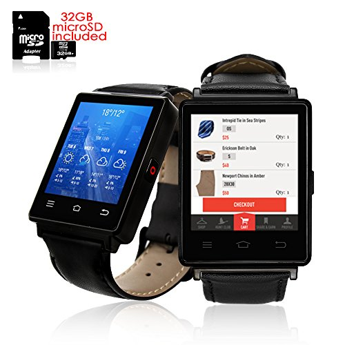 Indigi® Organisation Smartwatch Handy (3G GSM entsperrt) Android 5.1WiFi + GPS + Herzfrequenz + Bluetooth Bundle