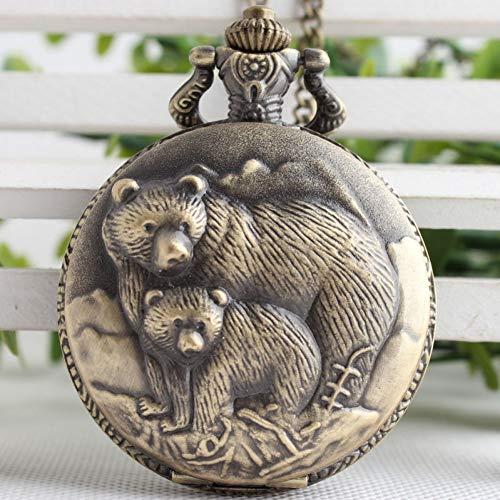 JHYMM Taschenuhr Retro Vintage Bronze Bär Coon Quarz Taschenuhr Analog Anhänger Halskette Männer Frauen Uhren Kette Kinder Geschenk -