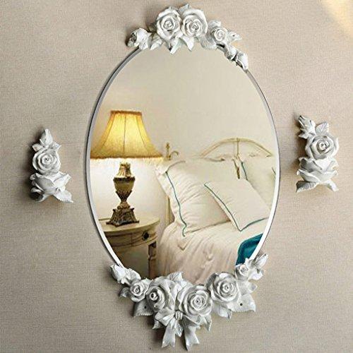 JIANPING Badspiegel Rose Wandspiegel Kosmetikspiegel rosa/weiß Wandspiegel (Color : Pink)