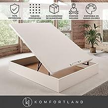 Canapé abatible Wood de Komfortland Medida 135x190 cm Color Blanco (Montaje incluido)