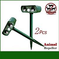 Tierabwehr, KENO Solarbetrieb Ultraschall Tiervertreiber Hundeschreck Katzenschreck Gegen Hunde, Katzen, Mäuse, Ratten, Kaninchen, Rehe, Füchse, Vögel für Ihre Garten und Haus