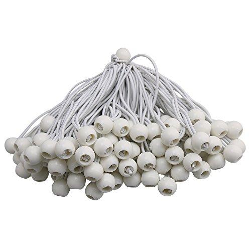 bqlzr 22cm gedehnt Elastic String mit Weiß Gummi Ball für Tarp Spanngurte, Zelt Fix Seil 100Stück Gummi-tarp