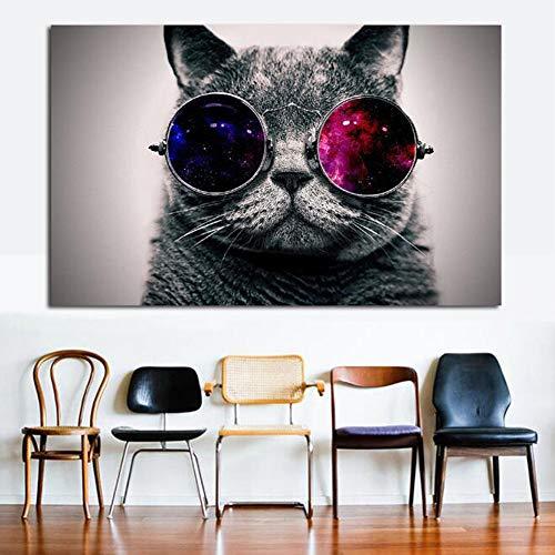Katze Mit Sonnenbrille Modern Giclée-Kunstdruck Abstrakte Bilder Gemälde Wandbild Für Wohnzimmer Home Dekorationen,50 * 75CM