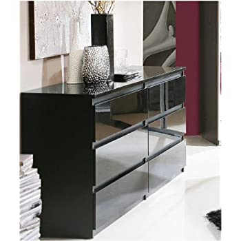 Louise Black Gloss Dresser Chest Of Drawers Amazoncouk Kitchen - Black gloss chest of drawers