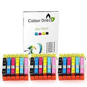18 XL High Capacity Colour Direct Compatible Ink Cartridges Replacement For Epson Expression Photo XP-55 XP-750 XP-760 XP-850 XP-860 XP-950 XP-960 Printers. 3 Sets 24XL