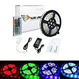 ALED LIGHT Striscia LED Impermeabile, 5050 SMD 300 LED RGB 5M Multicolore Strisce Flessibile Light, Telecomando a 44 Tasti + Adattatore di Alimentazione 12V 5A