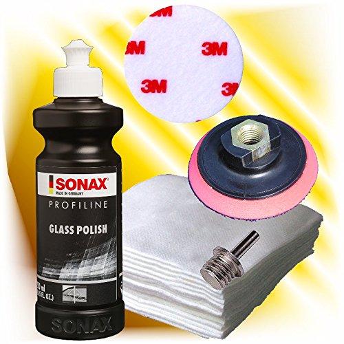 Sonax Profiline Glaspolitur Set +Polierteller + Vlies + Adpater + 3M Polierfilz