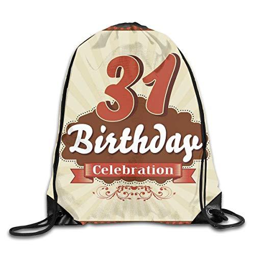 EELKKO Drawstring Backpack Gym Bags Storage Backpack, Old Fashioned Retro Celebration Label,Deluxe Bundle Backpack Outdoor Sports Portable Daypack -