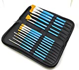 #7: Brustro Synthetic Hair Short Handle Artists' Brush Set Of 15 in a Premium Zippered Brush Wallet