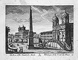 Grafik Obelisco della Trinita de Monti - Obelisco Sallustiano Roma acquaforte incisione Kupferstich engraving