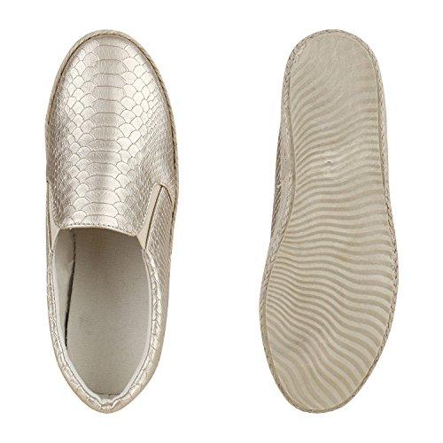 Modische Damen Bast Slippers Espadrilles Keilabsatz Gold Kroko