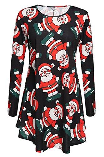 iPretty Mädchen Kinderkostüm Kostüm Kleid Langarm Swing Weihnachten Kleid Schneemann Weihnachtsmann Santa Rentier Druck Kleid Minikleid (Gruppe Kostüme Für 6)
