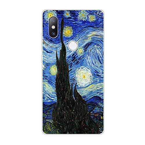 Aksuo Funda For Xiaomi Mi Mix 2S , TPU Anti-Rasguño Anti-Golpes Cover Protectora Transparente Claro TPU Caso Bumper Slim Silicona Case para Protectora - Pintura al óleo Estrella Rustica