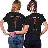 Best Friends Sister Tshirt für Zwei Damen Freund Shirts mit Rose Tops Sommer Oberteil BFF Geburtstagsgeschenk 1 Stücke Symbolische Freundschaft (L,Schwarz)