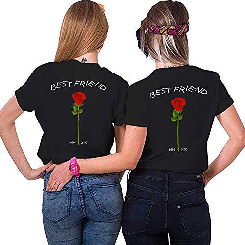 Beste Damen-t-shirts (Best Friends Sister Tshirt für Zwei Damen Freund Shirts mit Rose Tops Sommer Oberteil BFF Geburtstagsgeschenk 1 Stücke Symbolische Freundschaft (XXL,Schwarz))