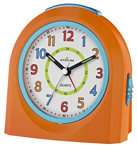 ATRIUM Wecker analog orange ohne Ticken mit Licht und Snooze, Schlummerfunktion Quarz-Wecker A921-9