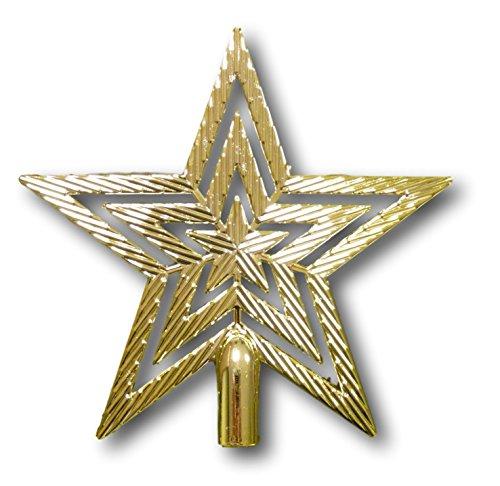 UrbanDesign Weihnachtsbaumspitze Baumspitze Spitze Stern Baumschmuck Weihnachtsbaum-Stern Weihnachtsstern Glitzer Glanz 19cm (Gold) -
