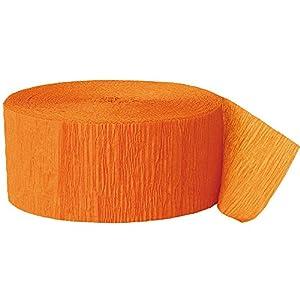 Unique Party- Serpentina de papel crepé para fiestas, Color naranja, 24 cm (6315)