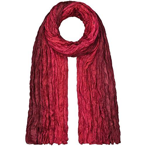Japanwelt Seidentuch elegantes Damen Halstuch Crash-Schal 100% Seide silkroad 90 x 180 cm Verlauf Rote Beeren - Herbst Futon
