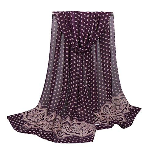 Transer ® Femelle Écharpes,Mode féminine longue en mousseline de soie douce Châle Dot Imprimé Echarpes Violet