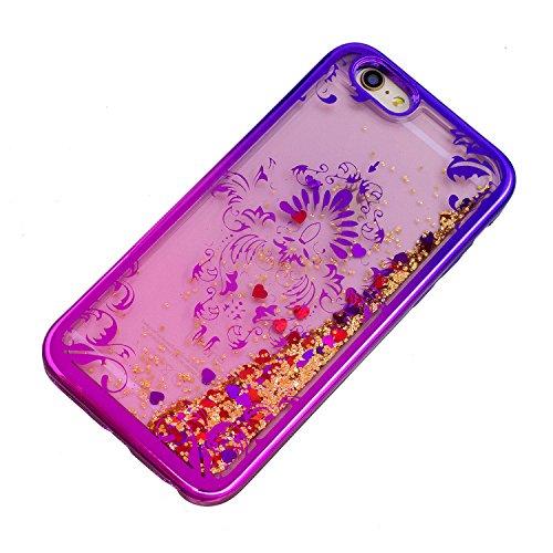Coque iPhone 6S , Glitter Liquide TPU Etui Coque pour iPhone 6 ,CaseLover Papillon et Fleur Motif Mode Etui Coque Dynamic Etoiles Paillettes Sable TPU Slim pour Apple iPhone 6S / 6 (4.7 pouces) Mode F Fleur