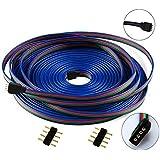 LitaElek Cable alargador, 4pines, 10m, RGB, cable LED, conector RGB para tira LED RGB5050/RGB3528, 10m